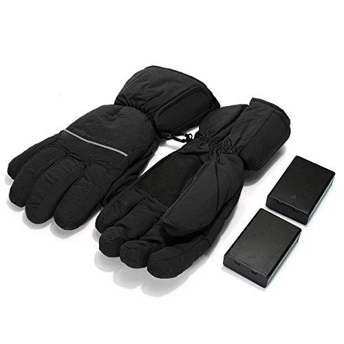 (Wooya Wasserdichter Elektrische Akku Beheizte Handschuhe Für Männer Frauen Ski Winter-Schwarz)