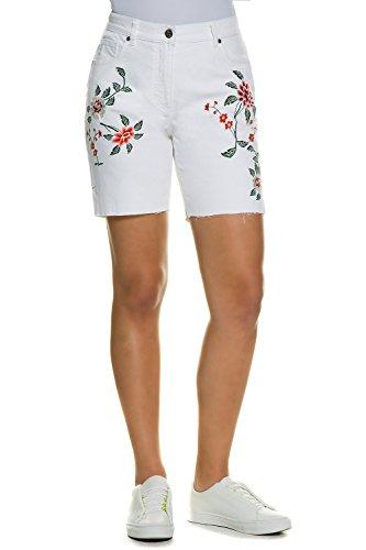 Ulla Popken Damen große Größen | Jeans-Bermuda | Stickereien & Fransensaum | 5-Pocket | High Waist | weites Bein | bis Größe 60 | offwhite 46 710331 20-46 (Jeans Weites Bein Größe Plus)