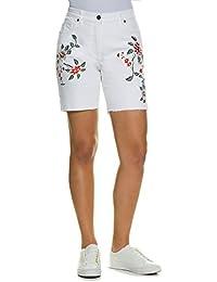 Ulla Popken Damen große Größen   Jeans-Bermuda   Stickereien   Fransensaum    5- ebbe4c4ca8