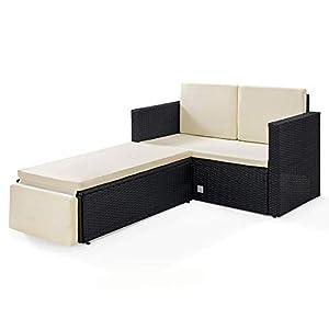 SVITA Libby Polyrattan Lounge Gartenset Sofa Garnitur Polyrattan Gartenmöbel (schwarz)