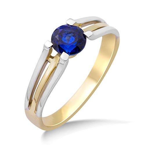 Miore Ring Damen Bicolor Gelbgold / Weißgold 9 Karat / 375 Gold Solitär  Blauer Saphir (Herren Blau Saphir Anhänger)