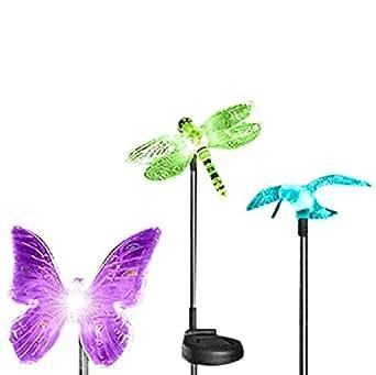 Esky Luci LED Esterne Multicolore Illuminazione da Giardino a Forma di Colibrì, Farfalla e Libellula Luce del Giardino Solare Illuminazione Giardino Lampade da Giardino Alimentate a Luce Solare con Fusto per Decorazione Giardini 3 confezioni