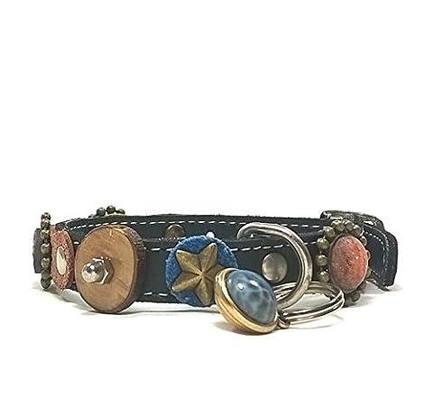 Leder Katzen-halsband mit Elastisch Sicherheitsverschluss | Luxus Katzen-halsband Leder mit Einzigartigen Dekorationen und schönen Anhänger