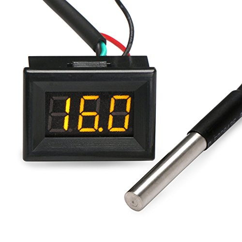 Droking Digital-Thermometer Elektronische Temperaturüberwachung -55-125 ℃ gelbe LED-Anzeige mit DS18B20 Wasserdichtes Temperaturfühler 3 m langes Sensorkabel