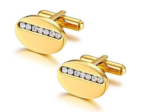Vnox Bouton de manchettes de mariage en or blanc 18 carats en acier inoxydable en acier inoxydable
