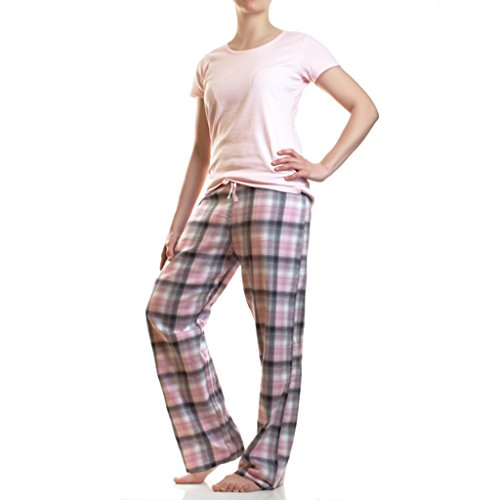Damen Flanell Schlafanzug Pyjama Hausanzug 100% Baumwolle, Farbe: Rosa / Kurzarm, Größe: M (40) (Flanell Schlafen Pyjama-hose)