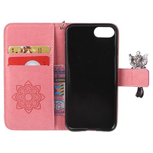 PU iPhone 7 Coque Bookstyle Hibou Étui Fleur Housse en Cuir Case à rabat pour Apple iPhone 7 (4.7 pouces) Coque de protection Portefeuille PU Case Cover (+Bouchons de poussière) (9) 2