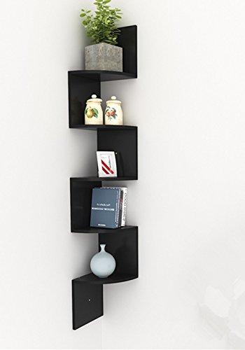 Busyall scaffali angolari a parete 5 ripiani mensola in mdf libreria mobili organizzatore per libri
