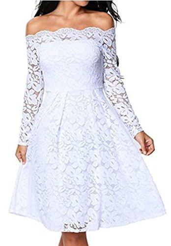 Arrowhunt Damen Elegant Vintage 50er Einfarbig Schulterfrei Langarm ...