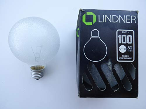 Lindner Globeglühlampe E27, D80mm, 100W, Eiskristall Natur, Double Life