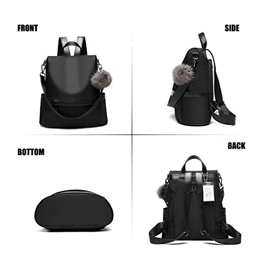 Floki Women's Leather Casual Backpack with Teddy Keychain (Black) Image 2