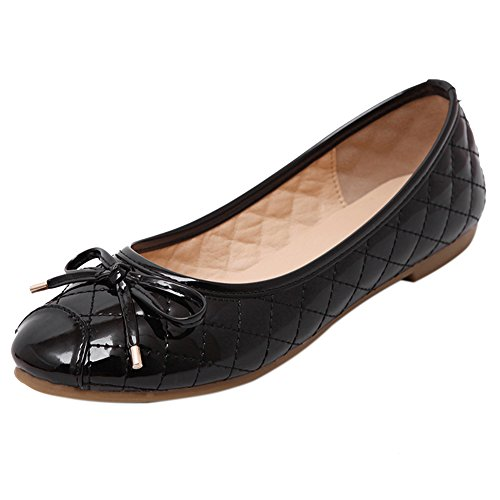 Slip-on Bogen Knoten Schuhe Damen Classic Boat Shoe Mädchen Bootsschuhe Schwarz 40