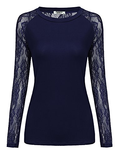 Zeagoo Damen T-Shirt mit Floral Spitze Langarmshirt Spitzenshirt Top Bluse Shirt Tunika Hemd (A_Dunkelblau, EU 38/ M)