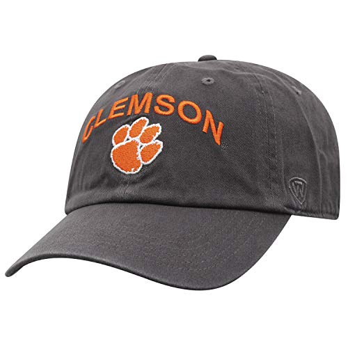Top of the World Herren Mütze NCAA verstellbar Relaxed Fit Charcoal Arch, Herren, NCAA Men's Hat Relaxed Fit Charcoal Arch Adjustable, Clemson Tigers Charcoal, Einstellbar Arch Logo Cap