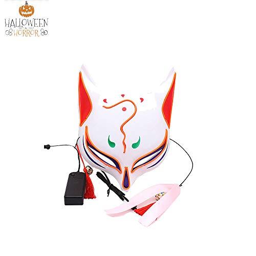 NBKLS Maske LED Sky Fox Mask Halloween Glow Cosplay kreative Art und Weise EL kaltes Licht Linienfarbe leuchten Tiere Cartoon Spiel Mask,1