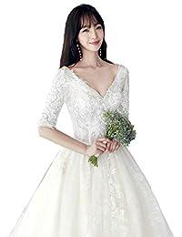Vestido de novia Mangas con Cuello en v Princesa Elegante Mujeres Embarazadas Tallas Grandes Vestido de