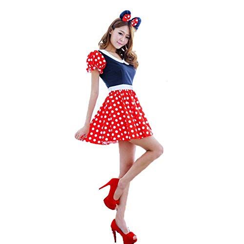 FrebAfOS Halloween Uniform, Rote Punkte Minnie Mickey spielt Kostüm, Halloween-Party