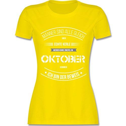 Shirtracer Geburtstag - Echte Kerle Werden IM Oktober Geboren - Damen T-Shirt Rundhals Lemon Gelb