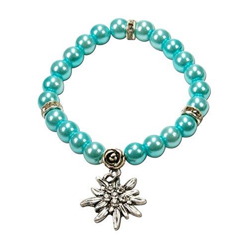 Alpenflüstern Perlen-Trachten-Armband Fiona mit Strass-Edelweiß - Damen-Trachtenschmuck, Elastische Trachten-Armkette, Perlenarmband Türkis DAB011