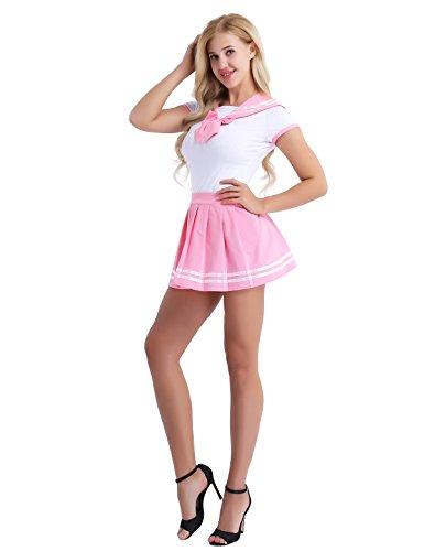 Tiaobug Schulmädchen Kostüm Uniform Set aus Shirt und Faltenrock Cosplay Matrose Kostüm School Girl Outfits Fliege Baby Strampler Dessous Nachtwäsche Rosa L (Japanische Schulmädchen Matrose Uniform Cosplay Kostüm)