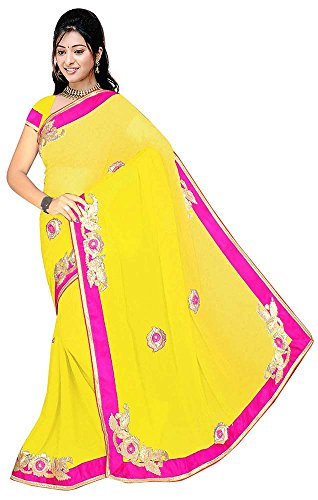 Raghavjee Sarees Women's Georgette Saree (Shaded Yellow)  available at amazon for Rs.797