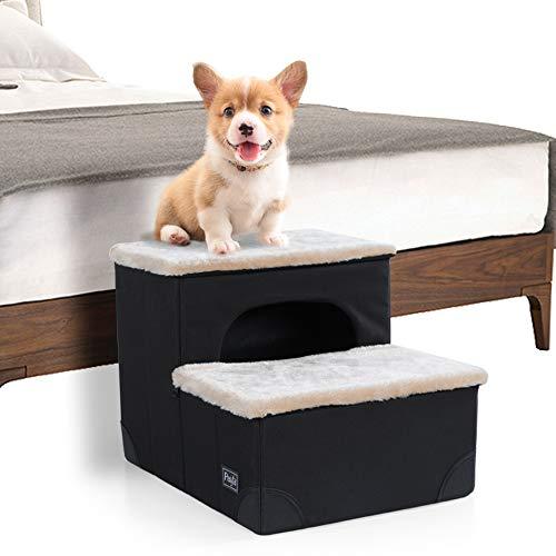 Petsfit Hundetreppe mit 3 Stufen. Einfache Stufen mit Vlies-Bezug - leichte, tragbare Haustier-Treppe mit weichem, waschbareren Bezug - ideale Rampe für ältere oder kleinere Hunde 45cm x 40cm x 34cm