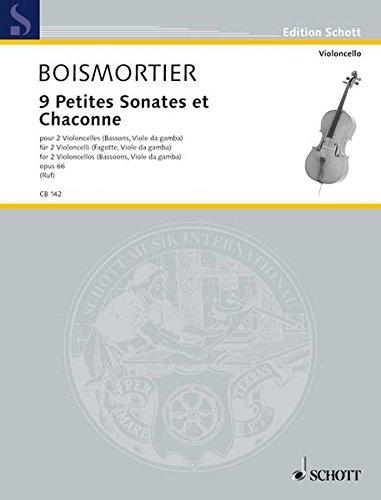 9 Petites Sonates et Chaconne: op. 66. 2 Violoncelli (Fagotte, Viole da gamba). Spielpartitur. (Cello-Bibliothek)