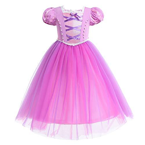 IMEKIS Mädchen Rapunzel Kleid Prinzessin Märchen Kostüm