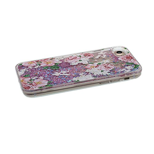"iPhone 7 Hülle, fee Skin harte freie Handyhülle iPhone 7, Glitter Bling Transparent Hard Clear funkelt Shinny fließend, Apple iPhone 7 Case Cover 4.7"", Schock-bestän Multiflora Rose"