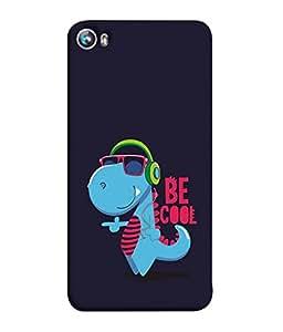 Fuson Designer Back Case Cover for Micromax Canvas Fire 4 A107 (Unique Dragon Blue BAby Dragon Enjoying Music)