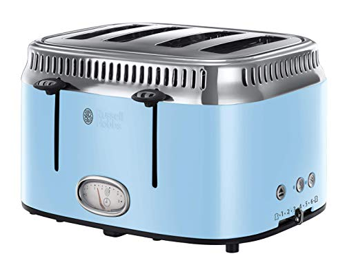 Russell Hobbs 21693 Retro 4 Slice Toaster, Stainless Steel, 2400 W, Blue