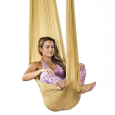 Brinny Yoga DIY Silk Pilates Premium Aerial Silks Equipment Aerial Yoga Tuch Aerial Silk Elastische Yoga Hängematte mit Stoff Zubehör 5 Meter von BR bei Gartenmöbel von Du und Dein Garten