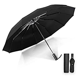 Youer Compact Umbrella Automatic Windproof Travel Folding Umbrella, Lightweight12 Ribs Reinforced Windproof Umbrella, Stainless Steel & Fiberglass Construction, Portable Umbrella Men's Ladies