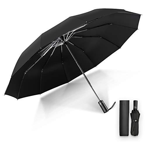 Youer Regenschirm Taschenschirm, kompakter tragbarer Automatische Schirm, 12 Metallwal, Hochgeschwindigkeits-UV-beständiges, trockenes, klein leicht kompakt, Winddicht Schirm für Reisen & Business