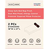 Slick Linens Sleep Safe Bed Bug Proof, Dust Mite Proof, Allergy Control Zippered Pillow Protecter Cover