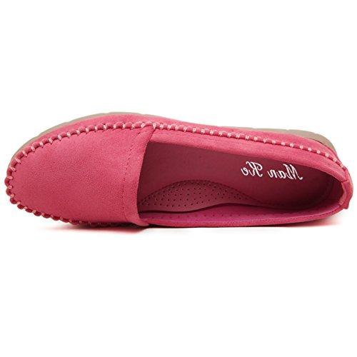 Smilun Lady mocassini mocassino camoscio scarpe barca piatto ultra-soft Red