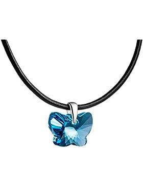butterfly Mädchen Leder-Halskette original Swarovski Elements Schmetterling hell-blau längen-verstellbar Schmuck-Beutel...
