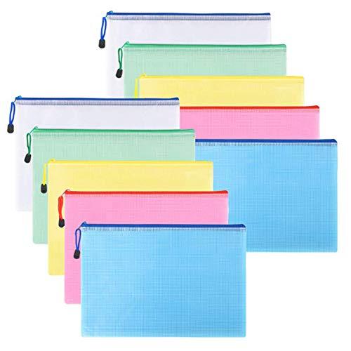 INTVN Kunststoff Brieftasche - 15Pcs Reißverschluss Datei Taschen Zipper Mesh Dokumententasche A4 Größe, Bürobedarf, Kosmetik, Rechnungen Storage - 5 Farbe (Receipts Datei-ordner)