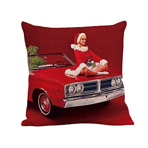 SDJBZ Happy Christmas Kissenbezüge Leinen Sofa Kissenbezug Home Decor Kissenbezug dekorative Weihnachten kissenbezüge