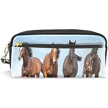 0452dd8950 Alaza corsa cavalli di matita zipper PU penna borsa cosmetici trucco penna  cancelleria sacchetto di grande capacità