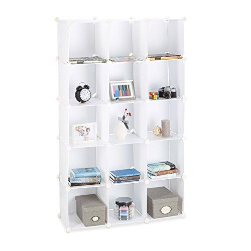 Relaxdays 10021959_49 scaffale componibile, in plastica, divisorio ambienti, cubi a incastro, 15 scomparti, bianco