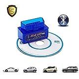 HopeU5® Supper Mini ELM327 Lector de código de coche Bluetooth Compatible con Android / Torque Soporte OBD2 OBD II ELM327 - Azul