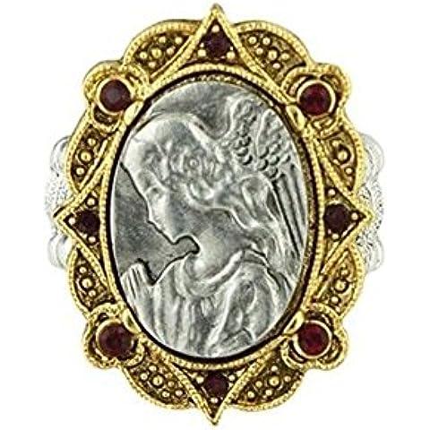Collezione Biblioteca Vaticana Maria incorniciato accenti di cristallo rosso anello di stirata P7043 fede religione - Chip Anello Di Stirata