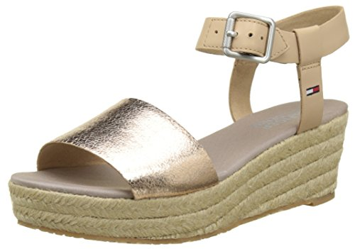 Tommy Hilfiger L1385ory 1c, Sandales Bout Ouvert Femme Or (Rose Gold-nude 903)