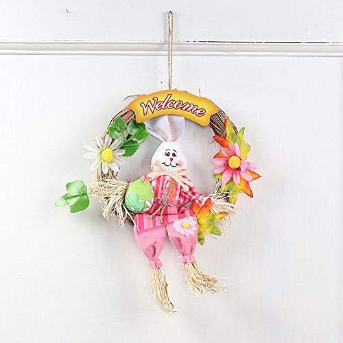 Cozyhoma, ghirlanda di conigli di pasqua, realizzata a mano, decorazione per la porta della casa, ghirlanda da appendere, decorazione pasquale, coniglio, rosa, pink 30x23cm/11.8x9inch