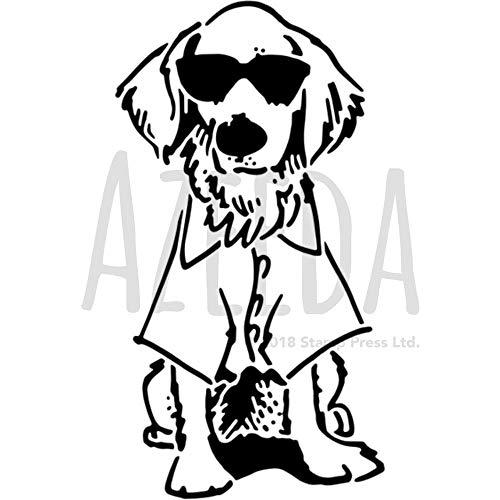 A5 'Hund mit Sonnenbrille' Wandschablone / Vorlage (WS00035252)