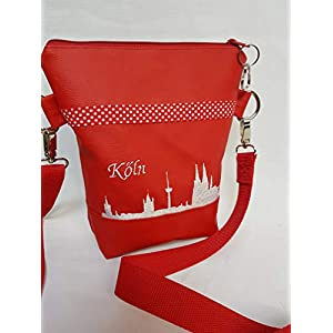 Handtasche Köln Umhängetasche Schultertasche Kunstleder rot weiss handmade bestickt