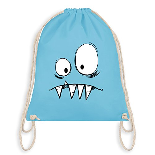 & Fasching - Monster Gesicht Kostüm 2 - Unisize - Hellblau - WM110 - Turnbeutel I Gym Bag (Bestien Kostüme)