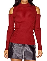 Sonnena Womens Casual Knitted Sweater Autumn Winter Slim fit Short Solid  Color 1d8f4207b