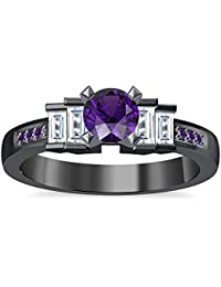 Silvernshine 1.35Ct Round & Buget Cut Amethyst Sim Dimoands 14K Black Gold Plated Engagement Ring